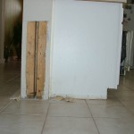 Water Damaged Wall and Cabinet