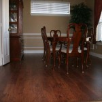 Despite the constant sliding of chairs there is no need to worry about scratching this floor.