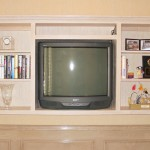 "In the time of tube TV's this was innovative. A full size TV on a 10"" shelf. It was accomplished by recessing the shelf into an adjoining closet."